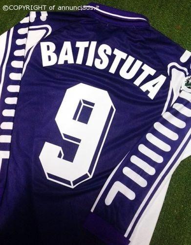 Fiorentina Maglia Casa Toyota 1999 2000 Serie A Jersey Home BATISTUTA 9 LS L