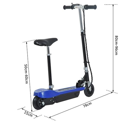 HOMCOM-Monopattino Scooter Elettrico Sella 120W Pieghevole in Metallo e PE, blu