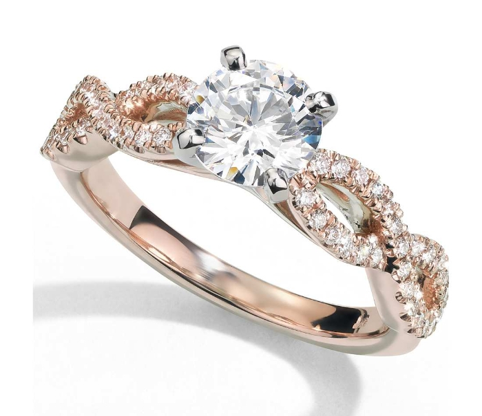 Infinity Twist Micropavé Diamond Engagement Ring in 14K Rose Gold (1/4 ct. tw.)