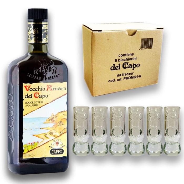 VECCHIO AMARO DEL CAPO LT 1 LITRO + 6 BICCHIERI ORIGINALI Shot Bicchierini Caffo